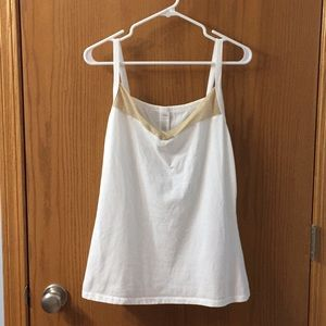 """5/$20"" White with gold trim tank top"